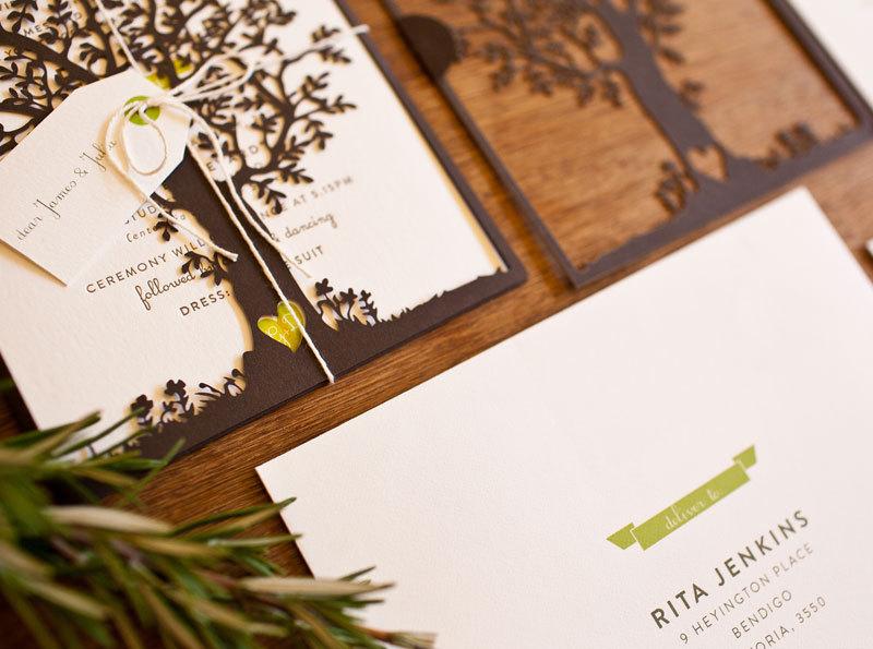 Crush Worthy Wedding Stationery Laser Cut Tree Wedding Invitations 2