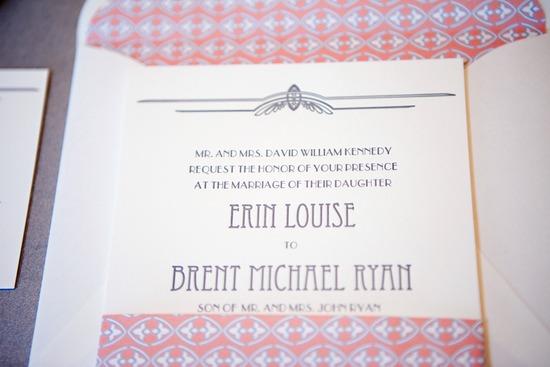 coral grey wedding invitations vintage inspired 1 - Coral And Grey Wedding Invitations