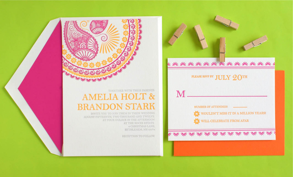 crush worthy wedding stationery Indian Design Letterpress Wedding Invitations5