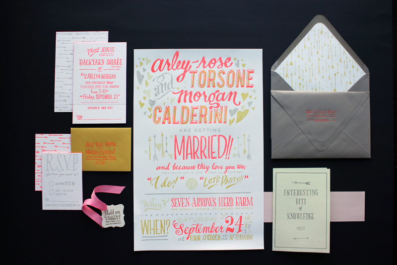 funky neon grey wedding invitations 1