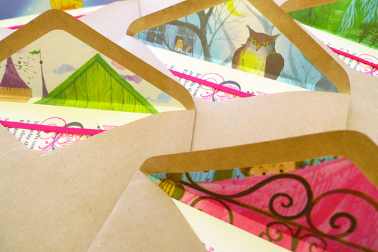 colorful fairytale wedding invitations envelopes