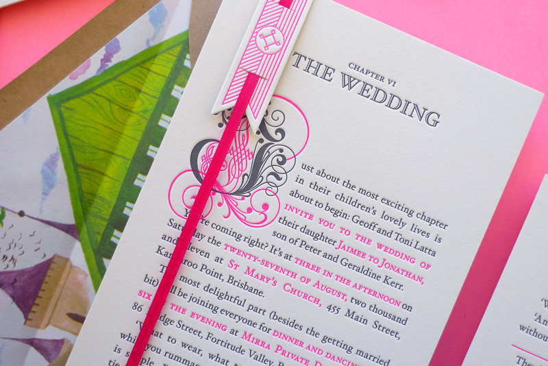 Neon-pink-grey-wedding-invites-happily-ever-after.full