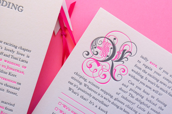 neon letterpress wedding invitations