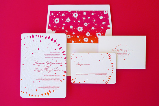 bold wedding invitations fireworks design