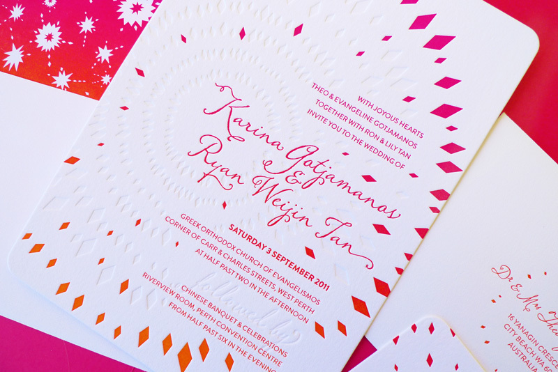 summer wedding firework letterpress wedding invitations