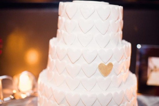 heart adorned wedding cake