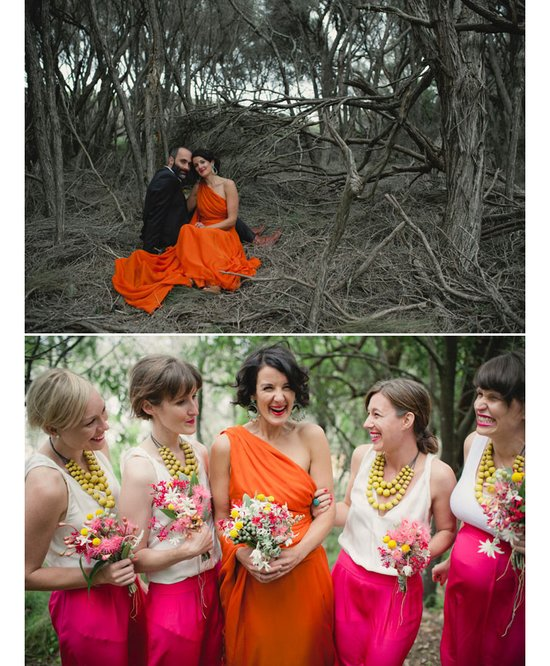 photo of Blushing Bride Draped in Orange