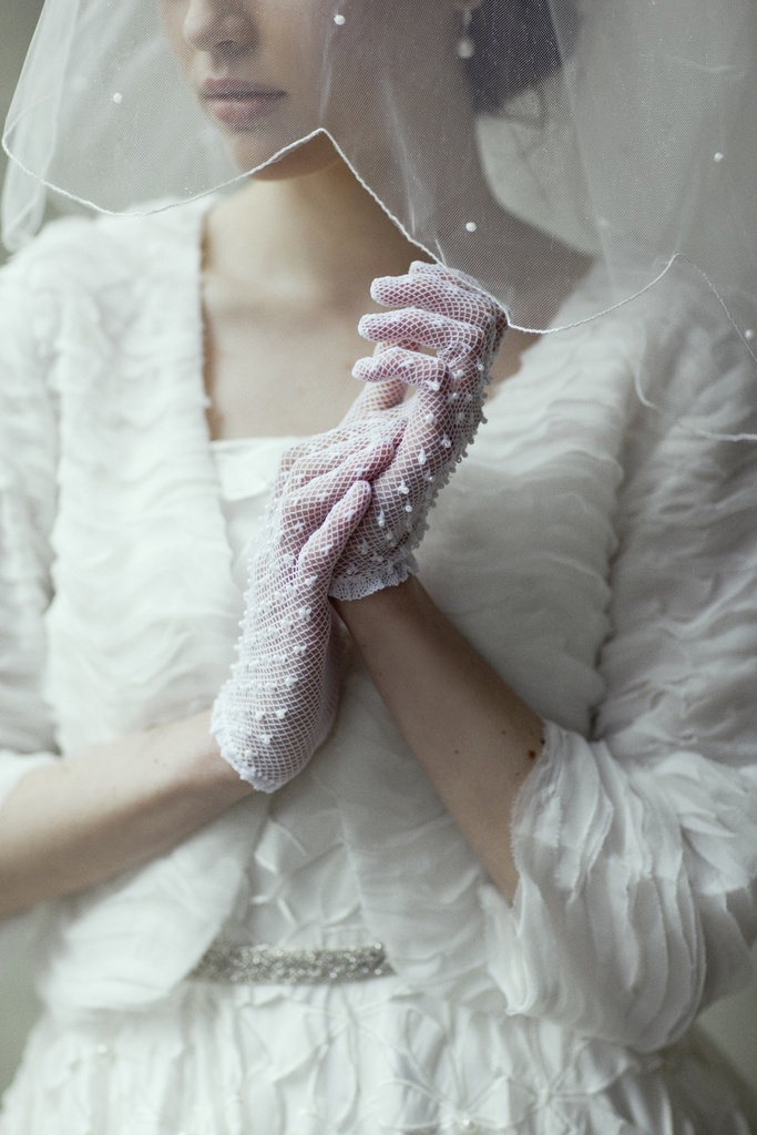 photo of vintage inspired bridal gloves