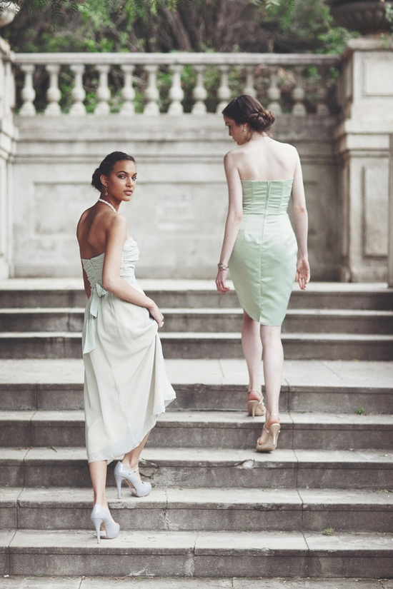 mint green bridesmaids dresses ruche 2012