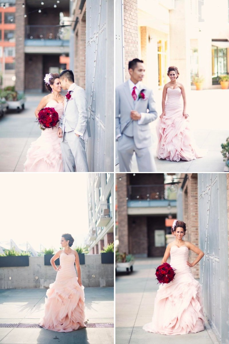 Strapless pink wedding dress by Vera Wang and groom in grey suit