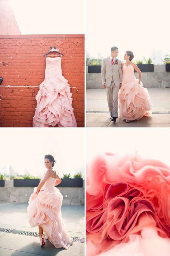 Elegant real wedding bride wearing pink wedding dress by Vera Wang