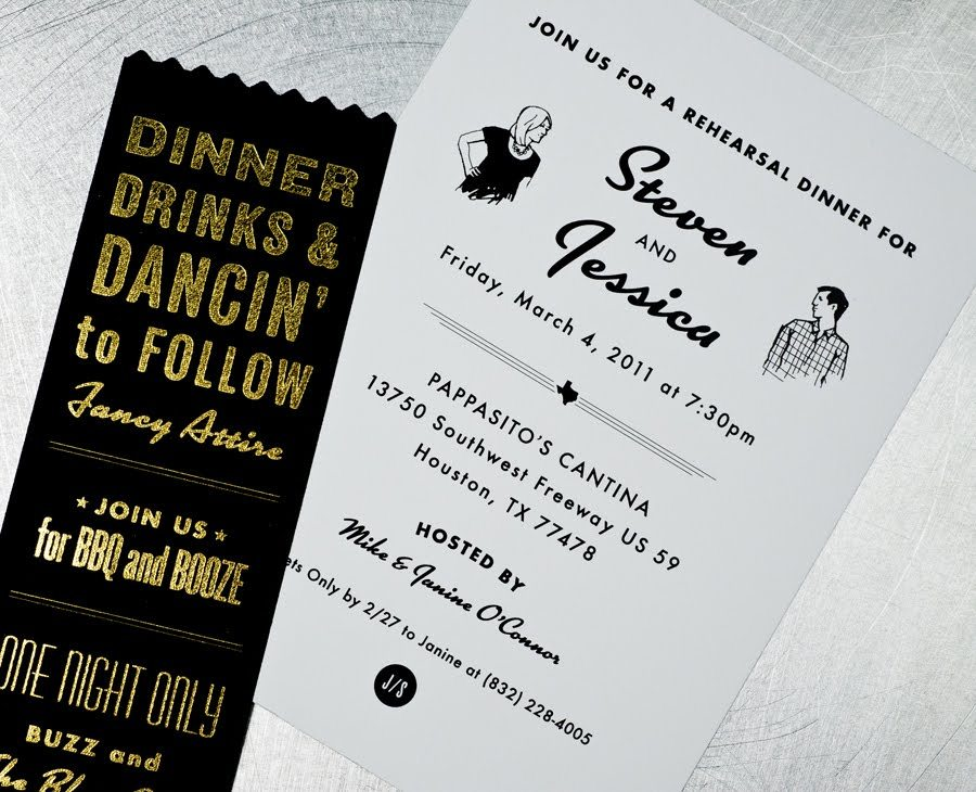 retro wedding invitations black white tan vintage inspired plaid 3