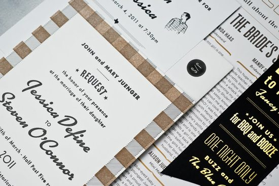 retro wedding invitations black white tan vintage inspired plaid 2