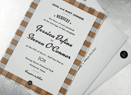 retro wedding invitations black white tan vintage inspired plaid 1