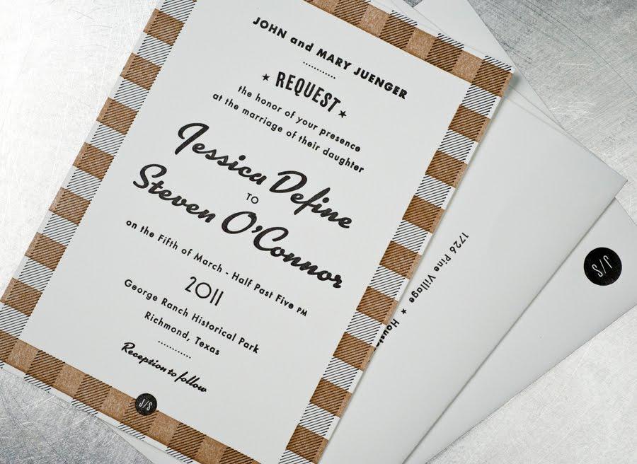 Retro Wedding Invitations Black White Tan Vintage Inspired Plaid 1