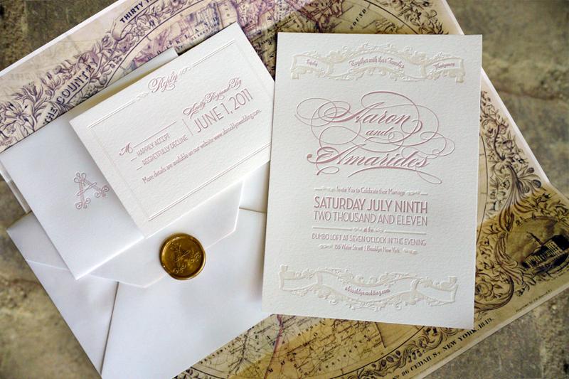 Elegant Vintage Inspired Wedding Invitation Ivory Gold Blush Pink Letterpress 1
