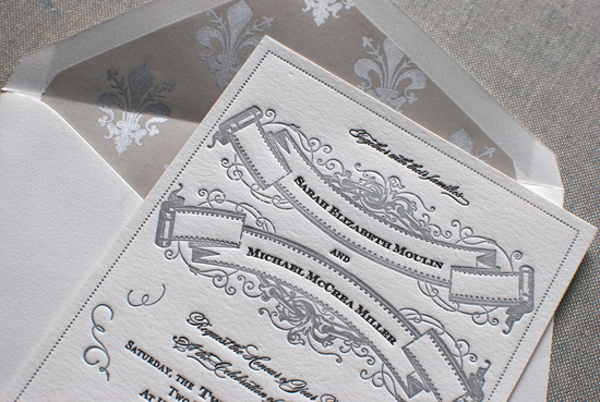 Art Deco Great Gatsby Wedding Invitations grey white 3