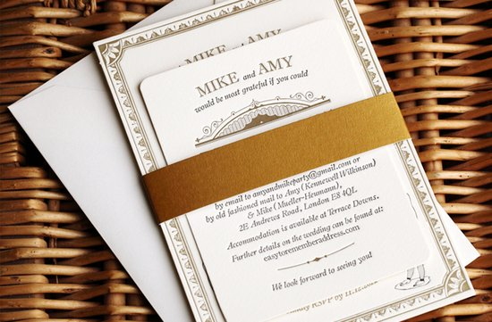 gold white wedding invitations vintage inspired 1