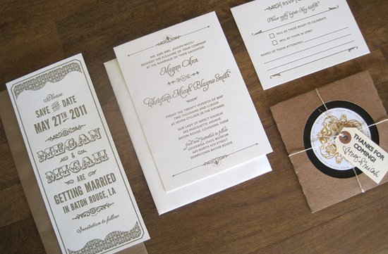 unique vintage inspired wedding invitations ivory taupe letterpress 1
