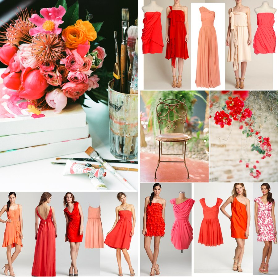 Coral-wedding-inspiration-bridesmaids-dresses.full