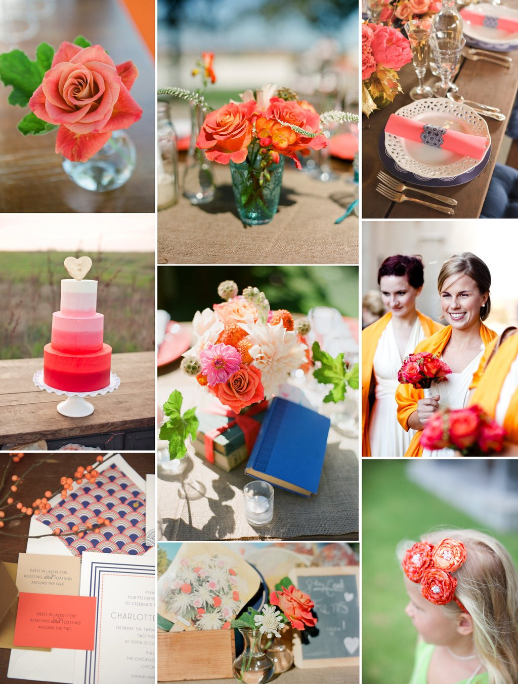Coral Wedding Inspiration Ombre Wedding Cake Bright Reception Flowers