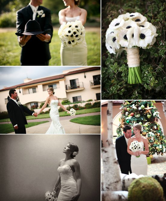 black white anemone wedding flowers