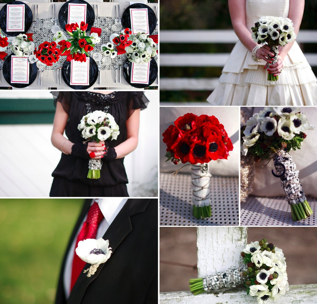 Red white black wedding flowers anemone mightylinksfo