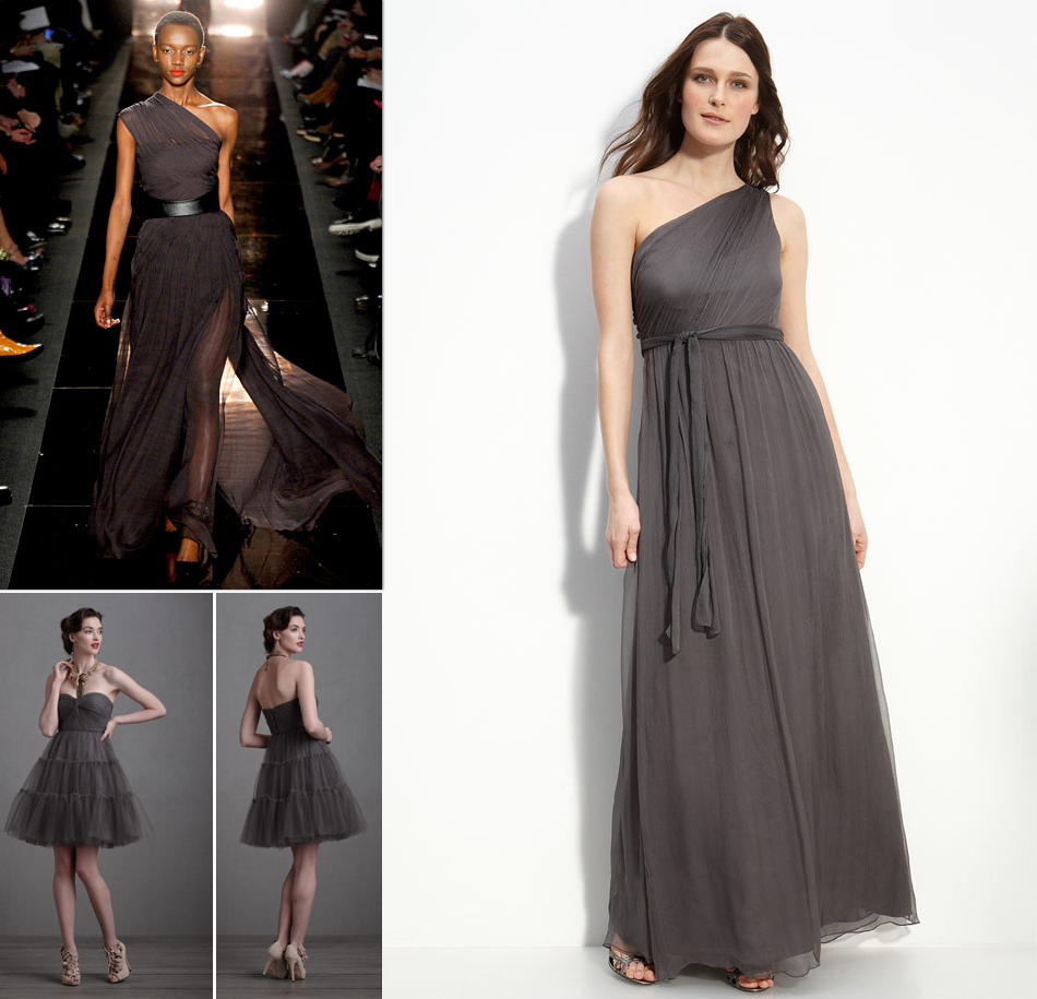 Dark charcoal bridesmaids dresses fashion week 2012 for Charcoal dresses for weddings
