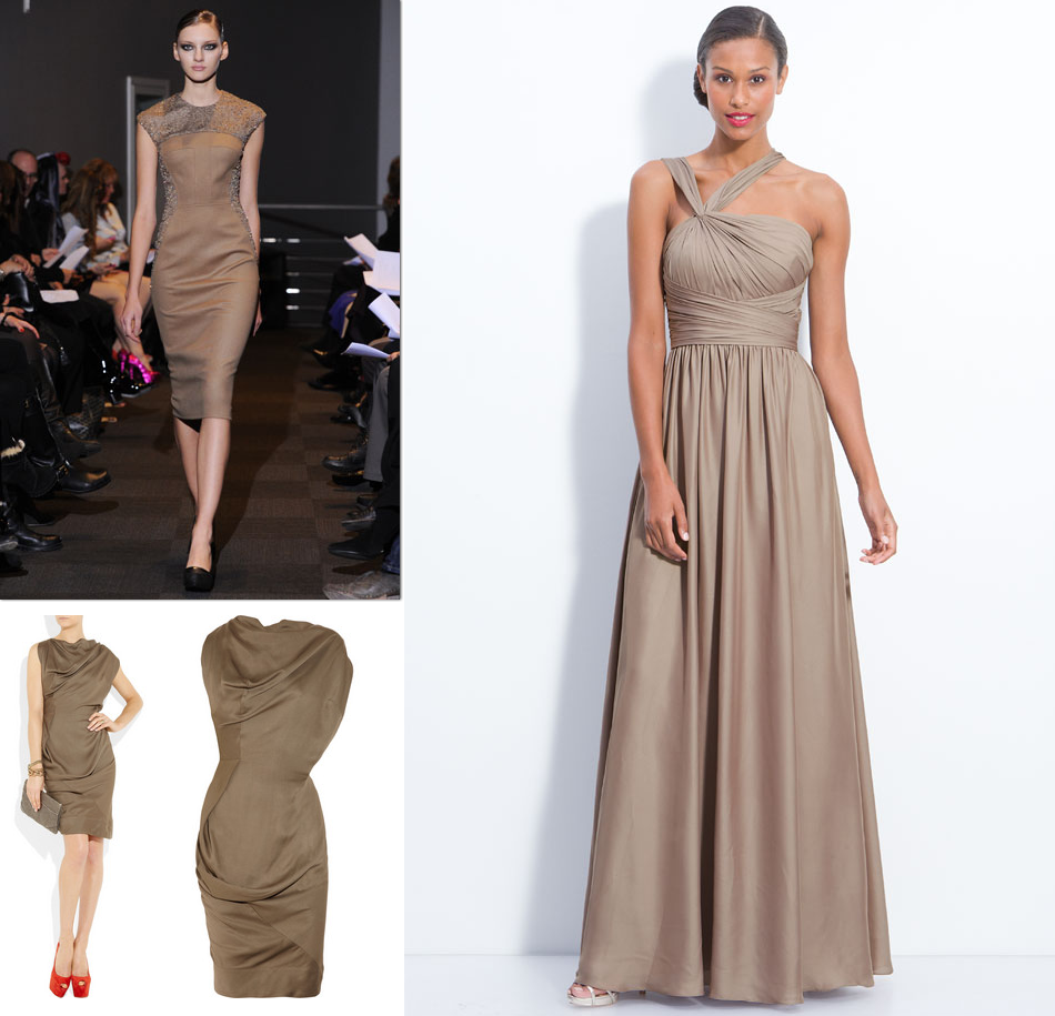Brown taupe bridesmaids dresses fall 2012 wedding style for Dresses for a fall wedding