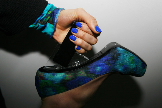 fashion wedding bridal inspiration blue nails peacock shoes via vogue
