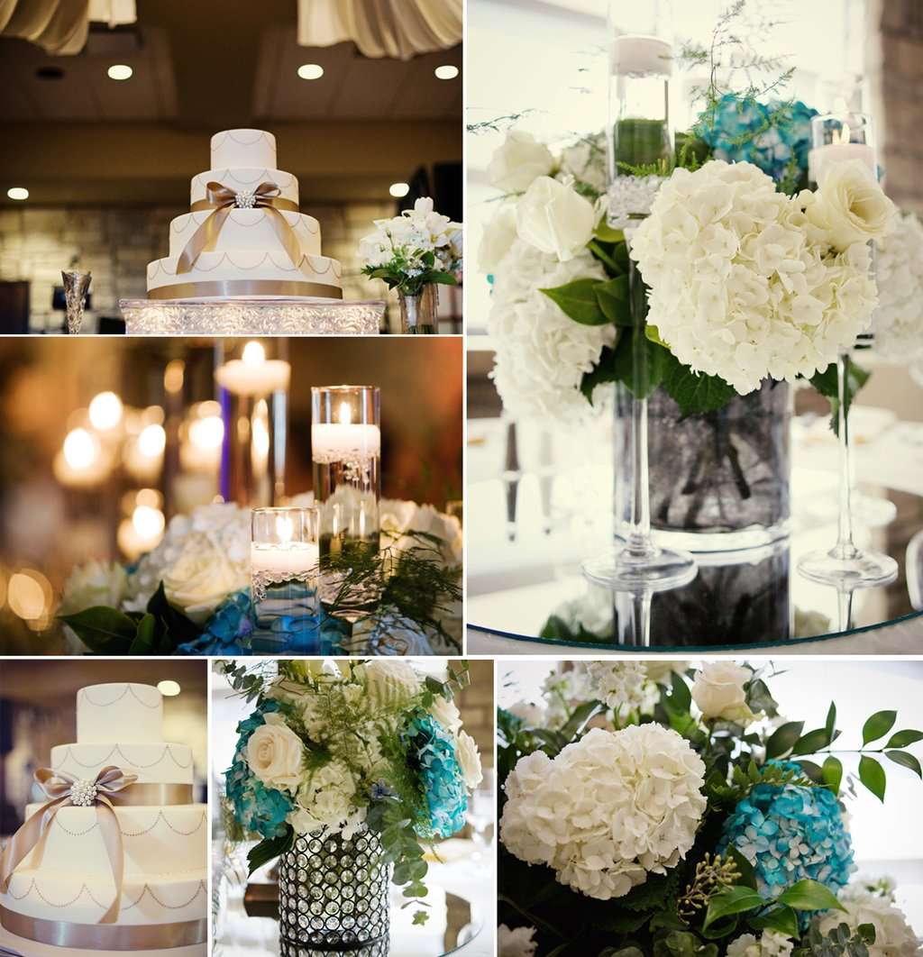 Ivory Hydrangea Wedding Reception Centerpieces Elegant Cake