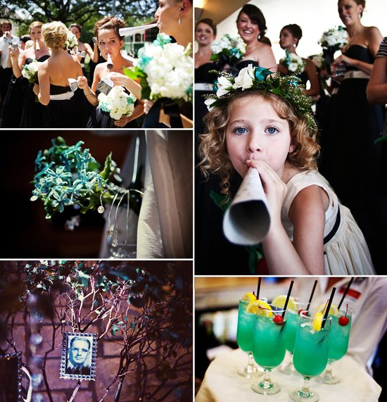 elegant real wedding ivory aqua wedding flowers reception details drinks