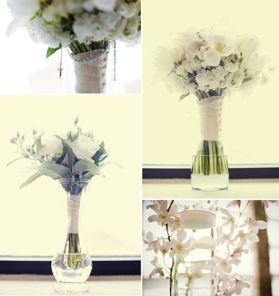 Elegant wedding reception centerpieces ivory hydrangeas
