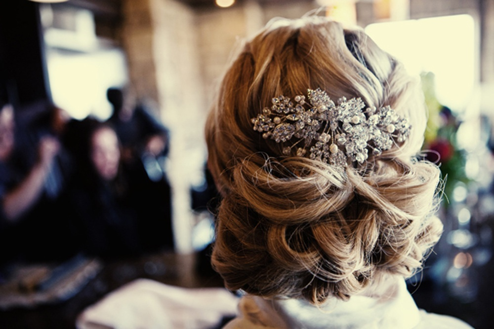 REAL WEDDING CHIC WEDDING HAIRSTYLE ALL UP WITH EMBELLISHED COMB | OneWed.com