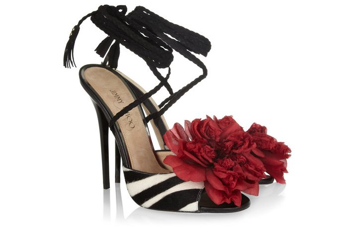 funky wedding shoes jimmy choo zebra with red flower