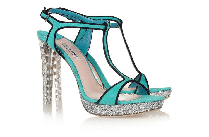 funky wedding shoes turquoise with studded heels
