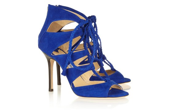 photo of Jimmy Choo blue suede wedding shoes