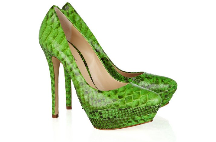 funky green python wedding shoes
