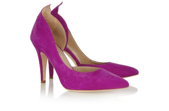 wedding shoes purple suede mid heel