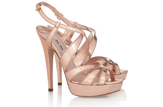 photo of Miu Miu metallic blush pink bridal sandals