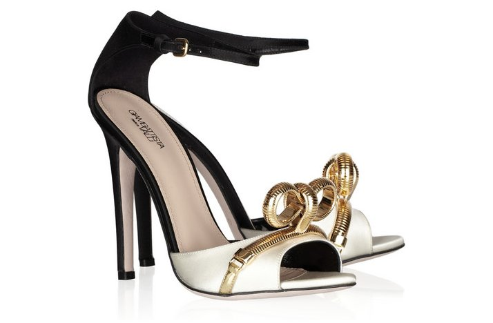 funky wedding shoes 2012 bridal heels black white with gold detail
