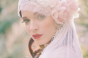 photo of Chantilly lace Juliet bridal cap