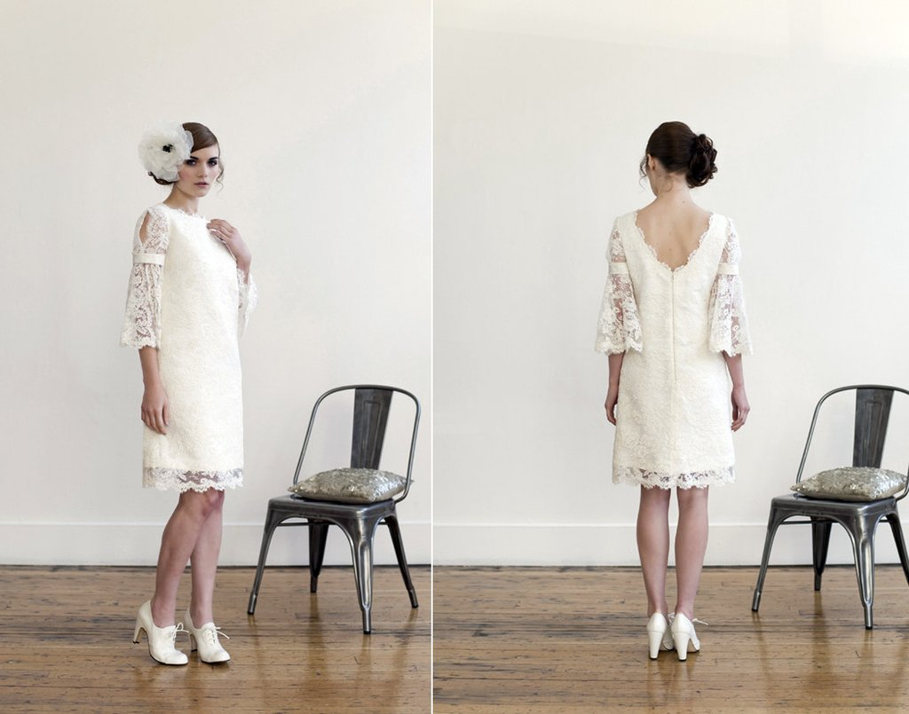 white lace little white wedding dress with sleeves spring 2012