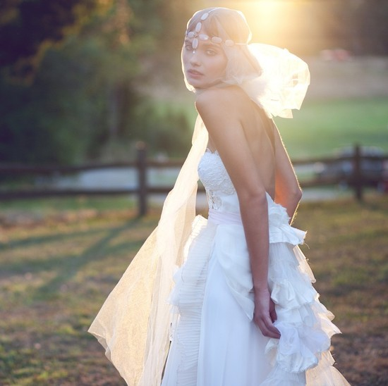 photo of Bohemian wedding dress by Claire LaFaye