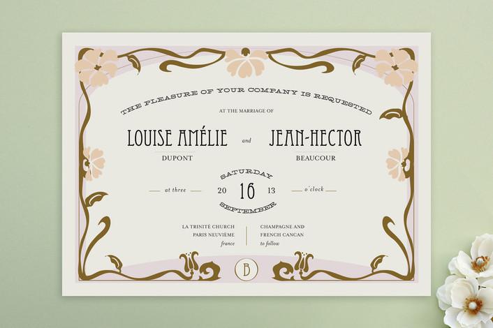 romantic champagne wedding invitations