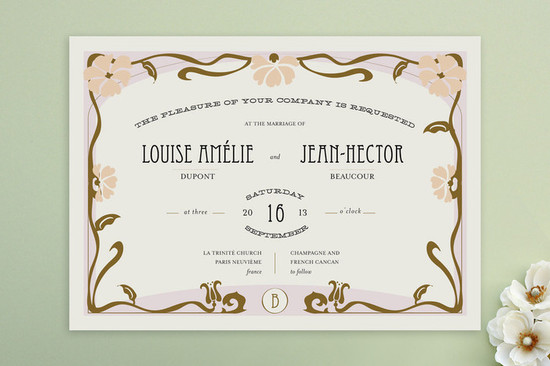 romantic champagne wedding invitations