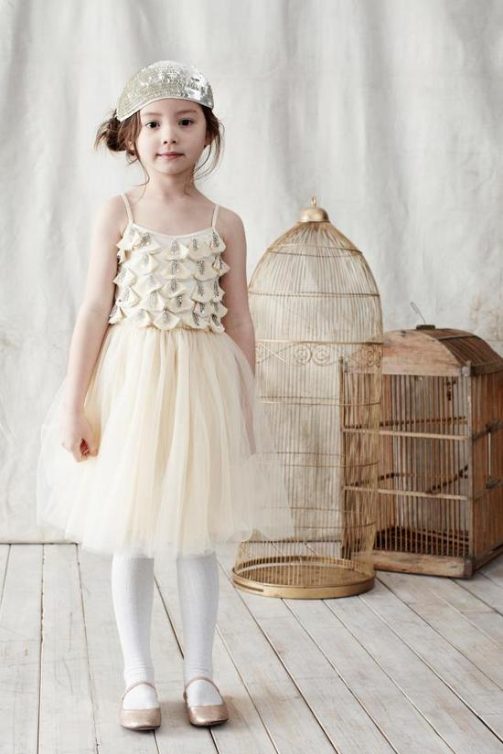 photo of ivory flower girl dress cute sequin hat