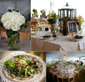 photo of elegant outdoor wedding catering tablescapes and mason jar centerpieces