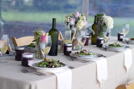 photo of outdoor real wedding simple reception centerpieces