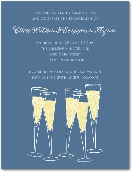Champagne Cheers Signature White Engagement Party Invitation